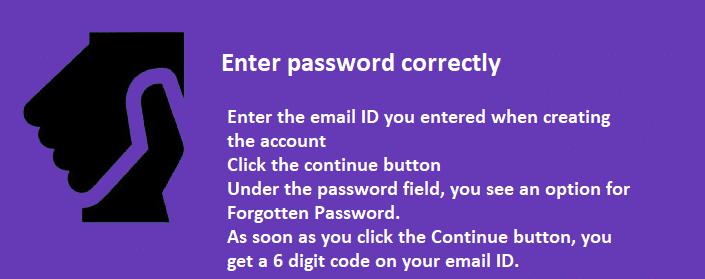 Enter password correctly